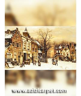 نخ و نقشه تابلو فرش زمستان
