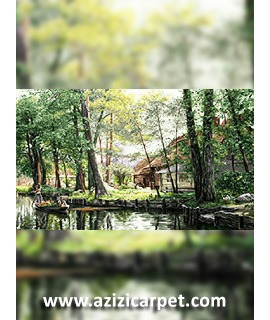 نخ و نقشه تابلو فرش جنگل