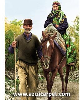 نخ و نقشه پیرمرد و پیرزن روستایی